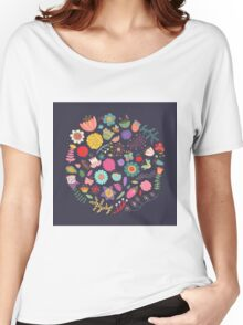 Bright Colored Flowers Floral Design Pattern Background Women's Relaxed Fit T-Shirt