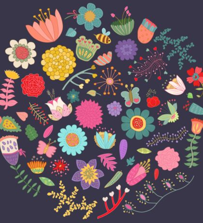 Bright Colored Flowers Floral Design Pattern Background Sticker