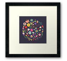 Bright Colored Flowers Floral Design Pattern Background Framed Print
