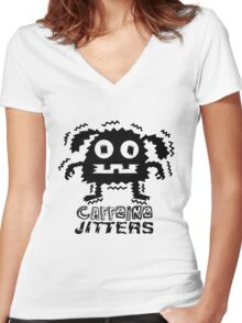 caffeine jitters - dog Women's Fitted V-Neck T-Shirt