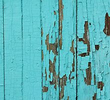 The texture of old wood with paint peeling off. Old wall. Aqua wall. by HelgaScand