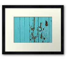 The texture of old wood with paint peeling off. Old wall. Aqua wall. Framed Print