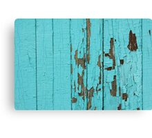 The texture of old wood with paint peeling off. Old wall. Aqua wall. Canvas Print