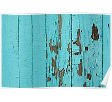 The texture of old wood with paint peeling off. Old wall. Aqua wall. Poster
