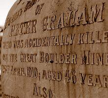 Miner's grave - Boulder Cemetery, Western Australia by Melissa Drummond