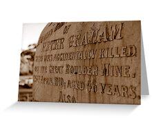 Miner's grave - Boulder Cemetery, Western Australia Greeting Card