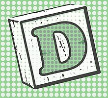 Child's Wood Block Pop Art Letter D by Anthony Ross