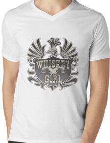 Whiskey Girl Shield Mens V-Neck T-Shirt