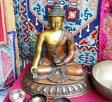 Medicine Buddha With Singing Bowls by Angie Spicer