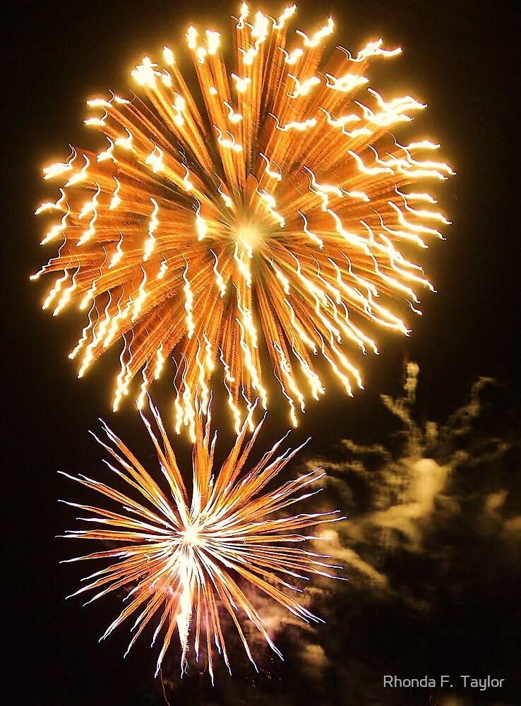 Light Burst - bursting fireworks at Carols by the Bay by Rhonda F.  Taylor