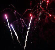 Sky Rockets-fireworks at Geelong Vic Au by Rhonda F.  Taylor