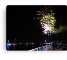 Fireworks over the Bay-Geelong Vic Australia Canvas Print
