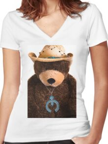 Southwest Bear Women's Fitted V-Neck T-Shirt