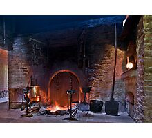 rustic fireplace in old farmhouse Photographic Print