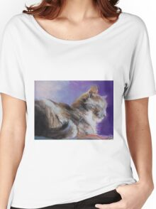 Contented ( Cat ) From original pastel by Madeleine Kelly Women's Relaxed Fit T-Shirt