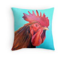 Reagan the Rooster, from original oil painting by Madeleine Kelly Throw Pillow