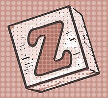 Child's Wood Block Pop Art Letter Z by Anthony Ross