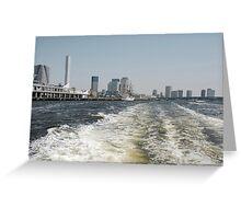 Boat Wake in Tokyo Waterway  Greeting Card