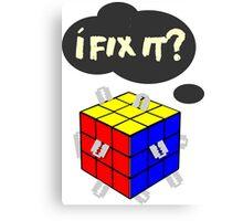 Rubik's Cube with razor blades! I fix it? Blood. Canvas Print