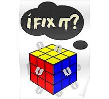 Rubik's Cube with razor blades! I fix it? Blood. Poster