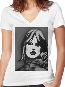 Blonde Girl Black And White Women's Fitted V-Neck T-Shirt