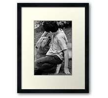 Child and dog Framed Print