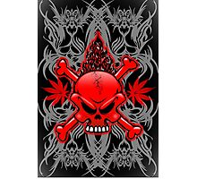 Red Fire Skull with Tribal Tattoos Photographic Print