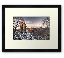 Clifton Suspension Bridge Snow Framed Print