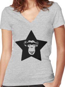 Monkey Superstar Women's Fitted V-Neck T-Shirt