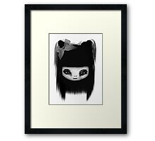 Little Scary Doll Black And White Framed Print