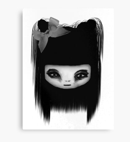 Little Scary Doll Black And White Canvas Print