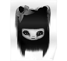 Little Scary Doll Black And White Poster
