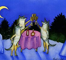 Three Wolves Toasting Moon by SeaSerpent