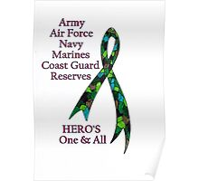 Support Our Heros ~ Green Camouflage Ribbon  Poster