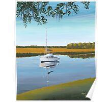 """"""" Sailboat on Chowan Creek """" , Beaufort SC Poster"""
