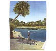 """"""" Fishing You Were Here """" Hunting Island State Park SC USA Poster"""