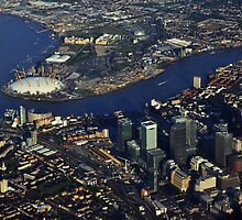 London from the air O2 and Canary wharf by vkirbys