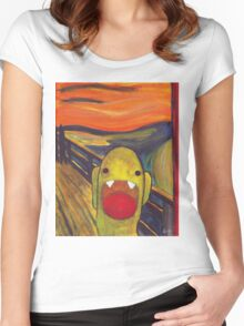 Monster Lisa (#002 of the Monster Imitates Art Collection) Women's Fitted Scoop T-Shirt