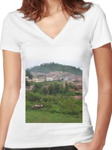 a desolate Nigeria landscape Women's Fitted V-Neck T-Shirt