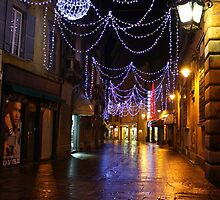 Reggio-Emilia. A Street View with Lights at Night. Italy 2009 by Igor Pozdnyakov