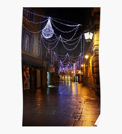 Reggio-Emilia. A Street View with Lights at Night. Italy 2009 Poster