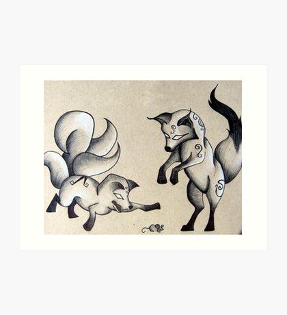 Playful Foxes Art Print