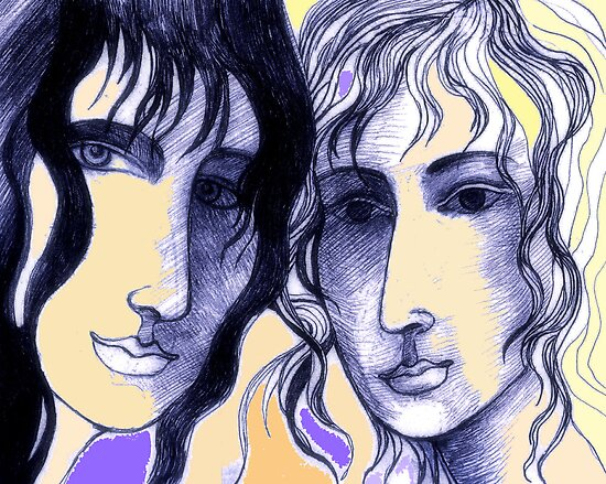 A Drawing of Imaginary Women #1 – With Touches of Purple, Peach and Yellow by Ivana Redwine