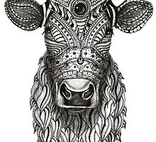 Ornamental cow - ink drawing - black and white by maarta