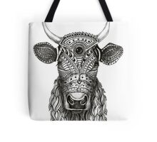 Ornamental cow - ink drawing - black and white Tote Bag