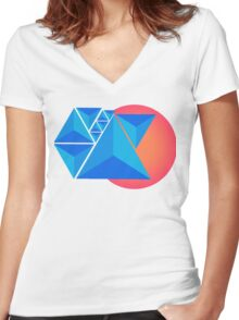 Mountains and Sunset Women's Fitted V-Neck T-Shirt