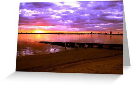 Sunset over the beach at St Kilda, Melbourne, Australia by Deb22