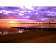 Sunset over the beach at St Kilda, Melbourne, Australia Photographic Print