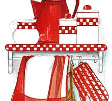 COUNTRY STYLE KITCHEN STILL LIFE IN RED AND WHITE and checkered patterns by RubaiDesign