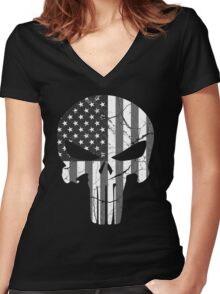 American Punisher - Subdued Women's Fitted V-Neck T-Shirt